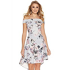 Quiz - Grey and pink flower print bardot dip hem dress