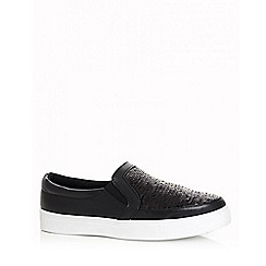 Quiz - Black polyurethane and sequin skater trainers
