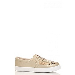Quiz - Gold polyurethane and sequin skater trainers