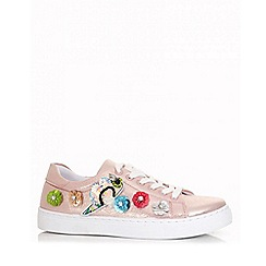 Quiz - Rose gold polyurethane sequin embellished trainers