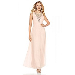 Quiz - Nude chiffon embellished V-neck maxi dress