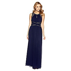 Quiz - Nude chiffon embellished v neck maxi dress