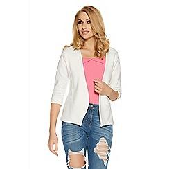 Quiz - Cream 3/4 sleeve turn up jacket