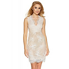 Quiz - White and nude sequin floral lace midi dress
