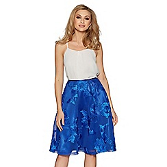 Quiz - Royal blue mesh applique flare midi skirt