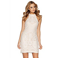 Quiz - White and nude lace turtle neck bodycon dress