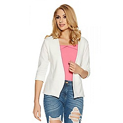 Quiz - Cream cropped 3/4 sleeve jacket
