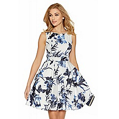 Quiz - Cream and blue floral print high neck dress