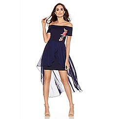 Quiz - Navy bardot embroidered dip hem dress