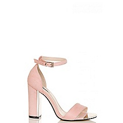Quiz - Pink and silver faux suede block heel sandals