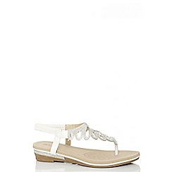 Quiz - White Diamante Flat Sandals
