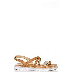 Quiz - Tan diamante strappy sandals