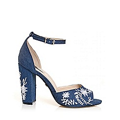 Quiz - Denim embroidered block heel sandals