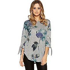Quiz - Grey and blue light knit rose print top