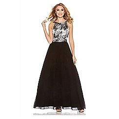 Quiz - Black and silver jacquard print chiffon maxi dress