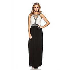 Quiz - Cream and black pearl embellished maxi dress