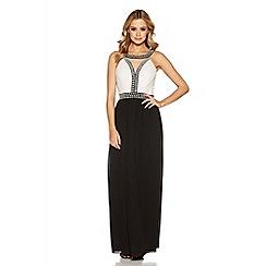 Quiz - Cream and black pearl embellished maxi dress