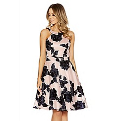 Quiz - Nude and navy mesh flower applique dress