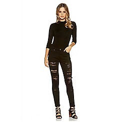 Quiz - Black denim ripped skinny jeans