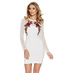 Quiz - Cream flower embroidered mesh sleeve dress