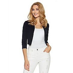 Quiz - Navy cropped 3/4 sleeve jacket