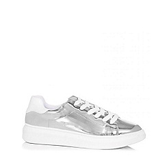 Quiz - Silver metallic lace trainers