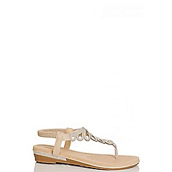 Quiz - Beige diamante flat sandals