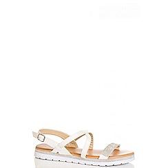 Quiz - White diamante strappy sandals