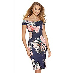 Quiz - Navy and pink flower print bardot midi dress