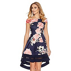Quiz - Navy and pink flower print bardot dip hem dress