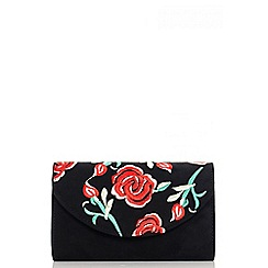 Quiz - Black faux suede embroidered bag