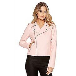 Quiz - Pink pu biker jacket