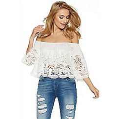 Quiz - Cream crochet bardot top