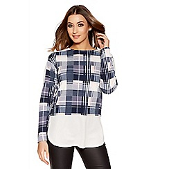 Quiz - Navy cream and pink check top