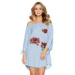 Quiz - Blue chambray embroidered bardot top