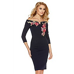 Quiz - Navy embroidered bardot midi dress