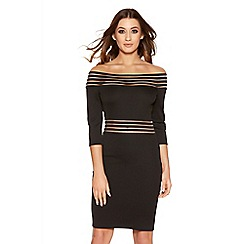 Quiz - Black bardot 3/4 sleeve dress