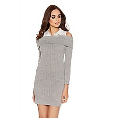 Quiz - Grey light knit shirt collar bardot dress