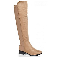 Quiz - Stone faux suede stretch back knee high boots