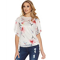 Quiz - Cream floral print batwing top