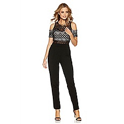 Quiz - Black aztec lace cold shoulder jumpsuit