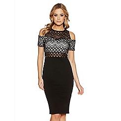 Quiz - Black aztec lace cold shoulder dress