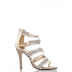 Quiz - Gold diamante strap sandals