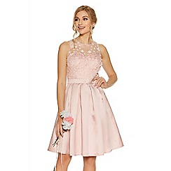 Quiz - Pink Satin And Mesh 3D Flower Prom Dress