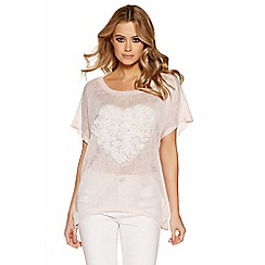 Quiz - Pink And cream heart batwing top