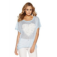 Quiz - Blue And cream heart batwing top