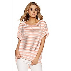 Quiz - Coral and cream stripe batwing top