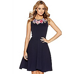 Quiz - Navy embroidered flower skater dress