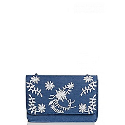 Quiz - Blue denim embroidered bag