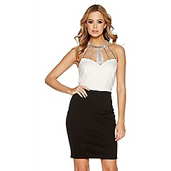 Quiz - Cream contrast diamante neck trim dress
